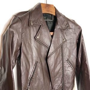 UNIQLO BROWN FAUX LEATHER JACKET